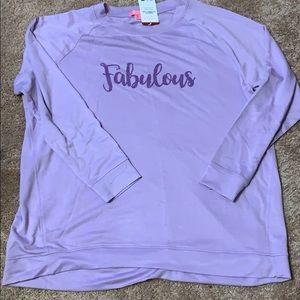 Ladies Isaac Mizrahi long sleeve purple shirt. XL